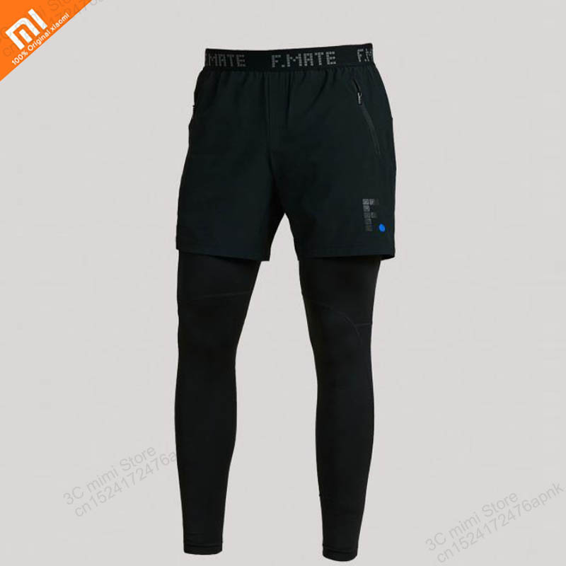 original Xiaomi mijia men s training tights shorts two in one breathable fitness running pants lightweight