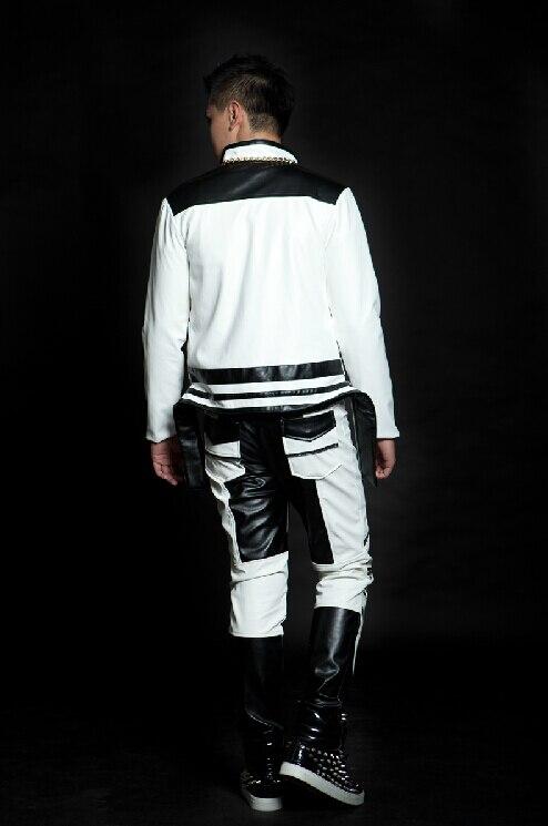 Couleur Pantalon Mode Automne Punk Zipper En Casual Hommes Nouveau Cuir Blanc Bloc De Printemps Noir Baisse Faux Et tdshQr