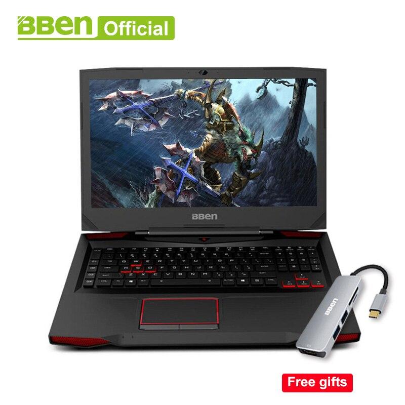 Bben Ordinateurs Portables De Jeu 17.3 RVB éclairé à contre-jour mécanique clavier Pro Win10 NVIDIA GTX1060 Intel i7 7700HQ 32 gb + 512 gb SSD + 2 tb HDD disque