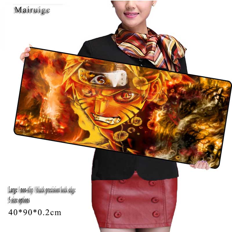 Mairuige Naruto Large Gaming Mouse Pad 40x80cm 40x90cm Mousepad Non-slip Laptop Table Mat for CS GO Speed Version Mousepads