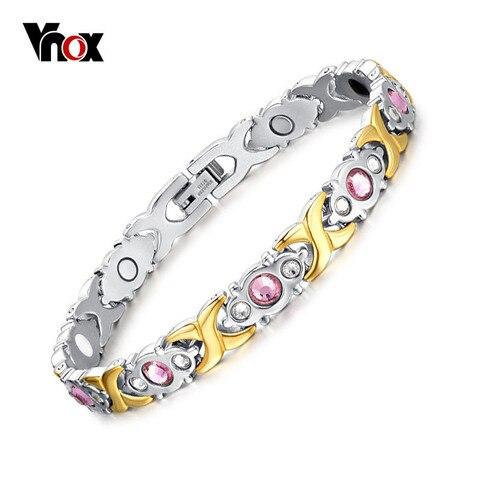 Vnox Bio Energy Magnetic Women's Bracelet 4 in 1 Health Care Jewelry Improve Arthralgia Reduce Fatigue 2018 Femme Gift Karachi