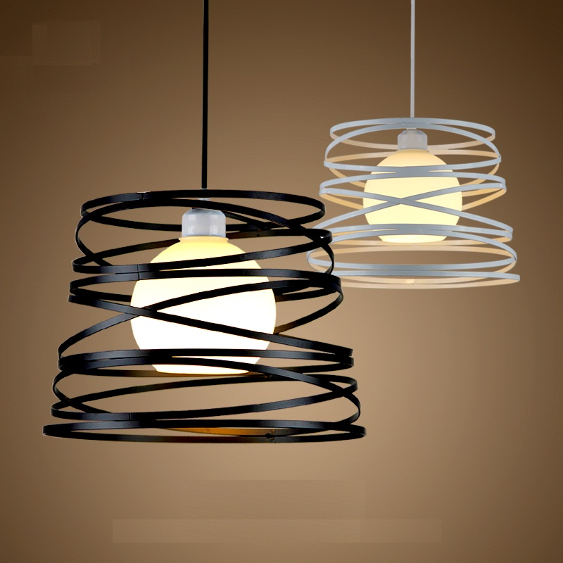 Simple Iron Spiral Pendant Lamp Light Shade 32cm Black White for Kitchen Island Dining Room Restaurant