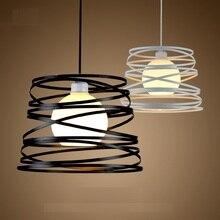 Ferro simples espiral pingente lâmpada sombra de luz 32cm preto/branco para ilha cozinha sala jantar restaurante decoração