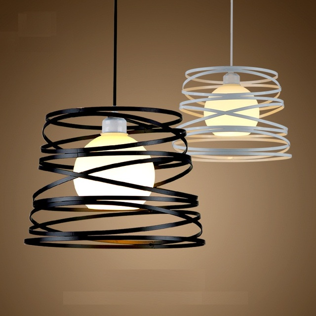 Simple Iron Spiral Pendant Lamp Light Shade 32cm Black White For Kitchen Island Dining Room Restaurant Decoration