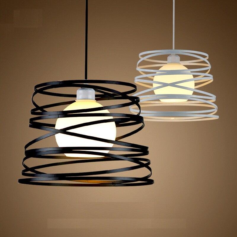 Suspension en spirale Simple en fer abat-jour 32 cm noir/blanc pour cuisine île salle à manger Restaurant décoration
