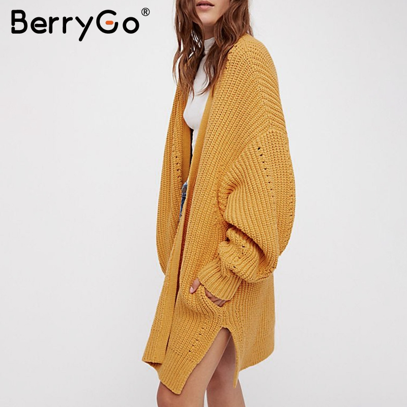 BerryGo Casual Knitted Long Cardigan Sweater Women Kimono Loose Autumn Sweater Cardigan 2018 Winter Sweater Female White Jumpers