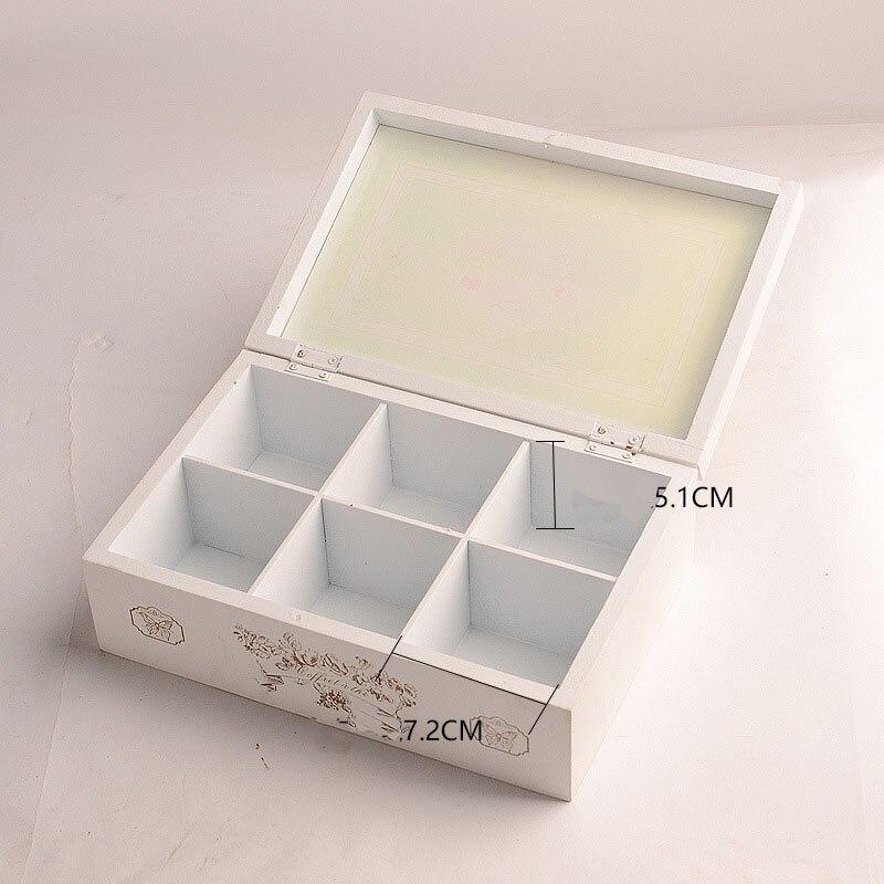 Vintage rétro organisateur conteneur boîtes de rangement en bois cosmétique boîte à bijoux décoratif solide affichage boîtes en bois pour les amis - 3