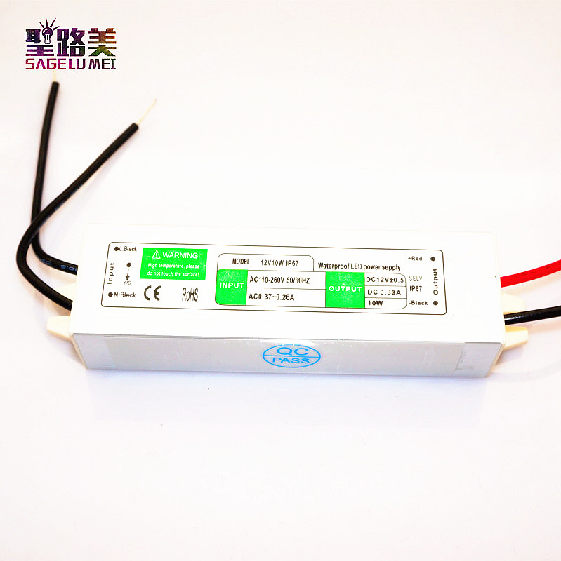 Best price 1 pcs 12V 10W Power Supply AC DC Switch Waterproof IP67 led strip Driver,Led Outdoor Power Supply for led strip