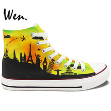 Wen Original Design Hand Painted Canvas Shoes for Men Women Famous City Landmarks High Top Flats Lace Up Sneakers for Gifts
