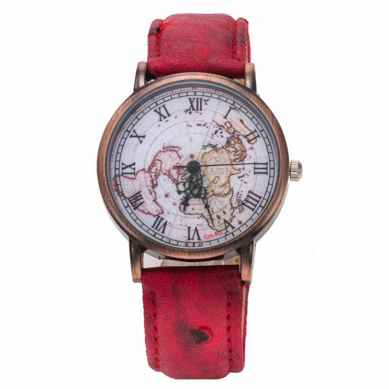 unisex montre vintage femme women watches with world map leather watch band wrist watch for men relojes mujer 2018