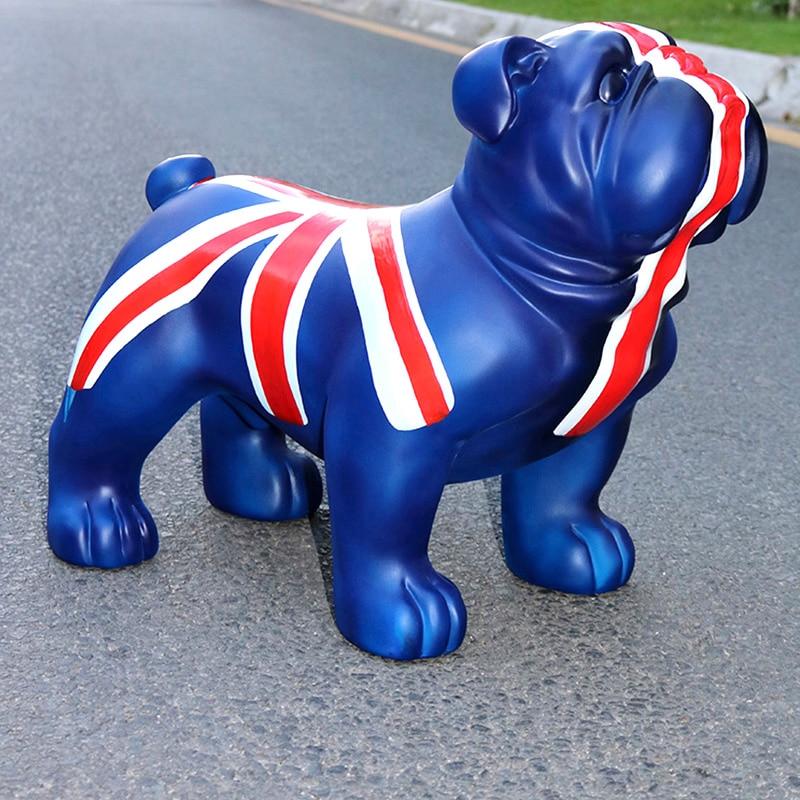 European ornaments large fortune British Bulldog simulation dog decorations shop opening housewarming gifts