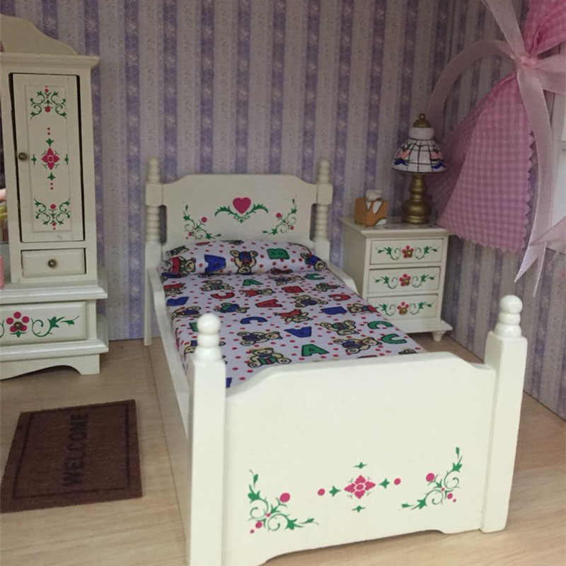 Doub K 1:12 Dollhouse Furniture toy for dolls white Miniature bed cabinet bedroom sets pretend play toys children girls gifts
