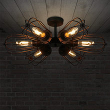 loft retro dual-purpose wheel iron ceiling light American style village 5 head DIY E27 Art Spider Ceiling Lamp Fixture Light(China)