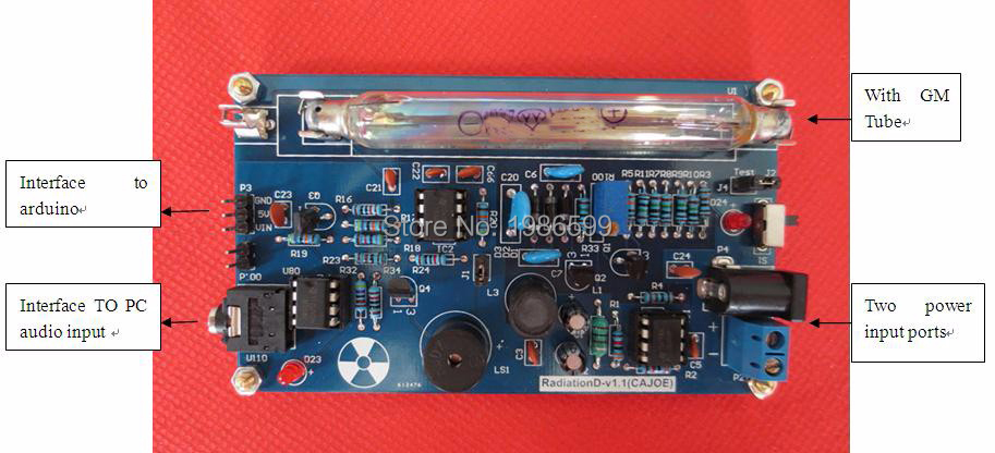 Assembled DIY Geiger Counter Kit; Nuclear Radiation Detector;GM Tube gmv2s geiger counter nuclear radiation detector personal dosimeter beta gamma x ray with alarm 2 4 tft lcd radioactive detector