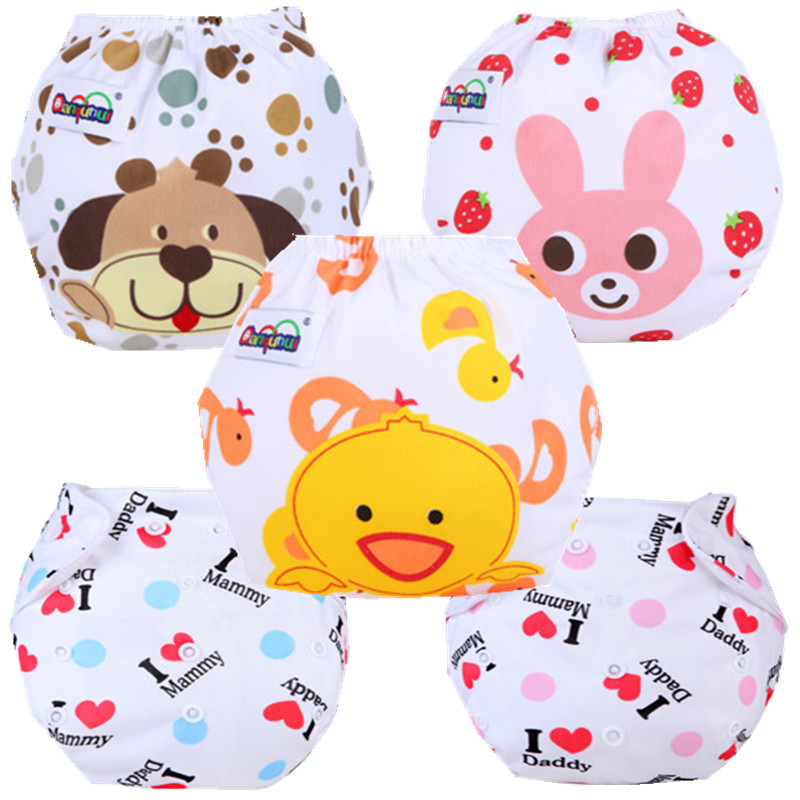5Pcs Cartoon Cloth Baby Diapers Reusable Baby Nappies Waterproof Infant Ajustable Nappies Diapers Pocket Winter Summer Style