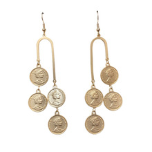 Vintage Europe Style Gold Coin Charm Drop Earrings for Women Multilayers Round Dangle Earring Statement Earings Fashion Jewelry