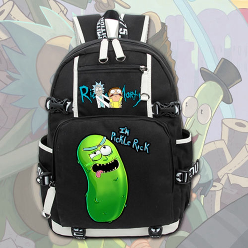 2017 New Anime Rick and Morty Laptop Backpack Cosplay Cartoon School bags 17  College Students Bag Bookbag Travelbag