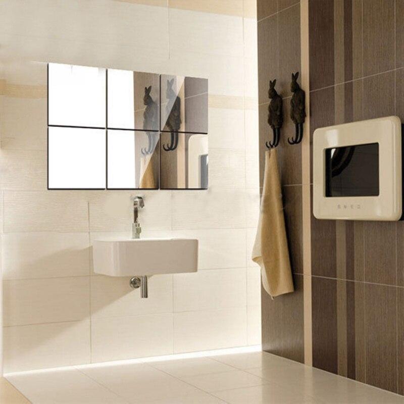 16pcs set pvc mirror wall sticker 15x15cm square self for Miroir 40x60