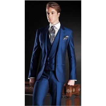 2017 Custom Made Fashionable Men Suits For Wedding Prom (Jacket+Pants+Vest) Slim Fit Men Suit Groomsman Best Man Groom Tuxedos