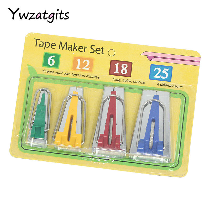 ywzatgits 4pcs/set Mixed 6/12/18/25mm Fabric Bias Tape Makers Domestic Machine Sewing Quilting Tools Accessories 089114(1)ywzatgits 4pcs/set Mixed 6/12/18/25mm Fabric Bias Tape Makers Domestic Machine Sewing Quilting Tools Accessories 089114(1)