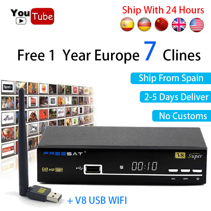 Europe Server Clines Receptor for 1 year For Italy Spain freesat V8 Super decoder DVB-S2 Freesat V8 Satellite Receiver +USB Wifi de it es channels dvb s s2 satellite fta lines 1 year cccam clines newcamd usb wifi satellite tv receiver for free shipping