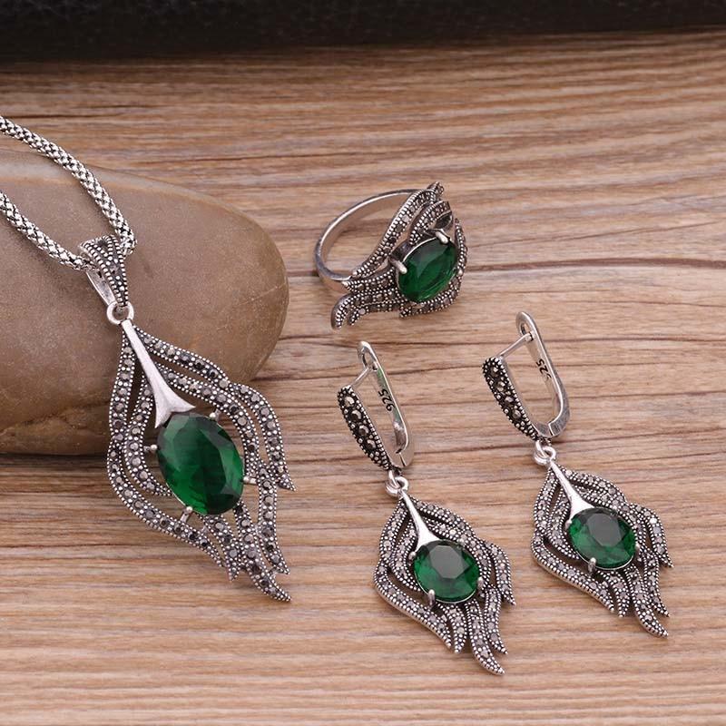 6e40dd72d3d33 Luxury Brand Turkey Turkish Jewelry Sets Fashion Women's Green ...