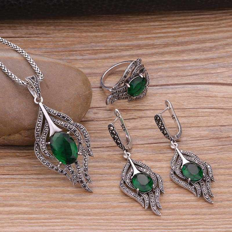 Sellsets Vintage Feather Set Antique Silver Color Black Crystal With Green Cubic Zirconia Jewelry Sets For Women Wedding Gifts