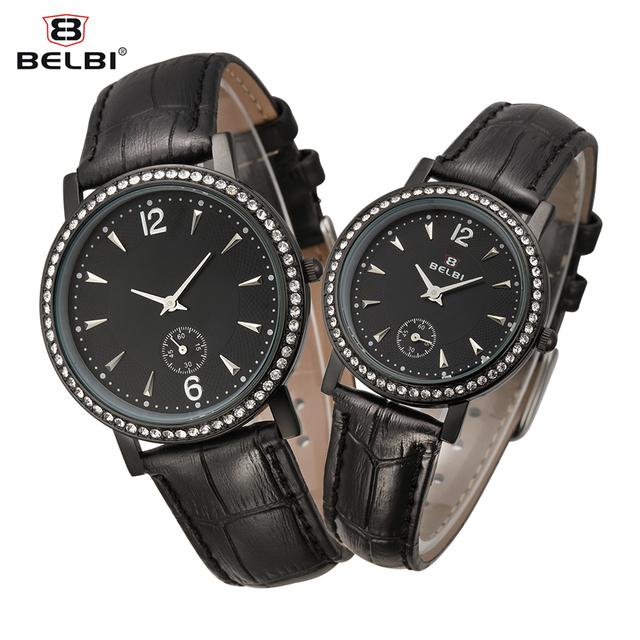 Belbi Homens do Amante Relógio de Quartzo de Couro de Moda Venda Quente Mulheres Strass Relógios Relojes Casuais Estilo Simples relógio de Pulso Elegante
