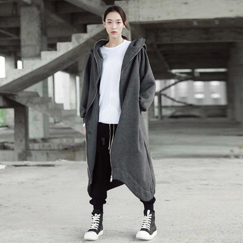 ZANZEA Winter Warm Long Sleeve Solid Hooded Jacket Women Casual Zip Fleece Pockets Long Coat Loose Asymmetric Sweatshirt M 5XL