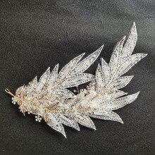SLBRIDAL кристаллы и Стразы ручной работы кружева лист цветок свадьба тиара головная повязка свадебные головные уборы женские аксессуары для волос