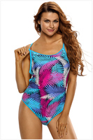 Free Shipping Sexy Female Swimwear Women Blue Pink Palm Leaves Strappy Back One Piece Swimsuit 4F410065