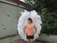 Adult's luxury beautiful white ostrich angel wings COS party stage show supply ceative Displays shooting props EMS free shipping