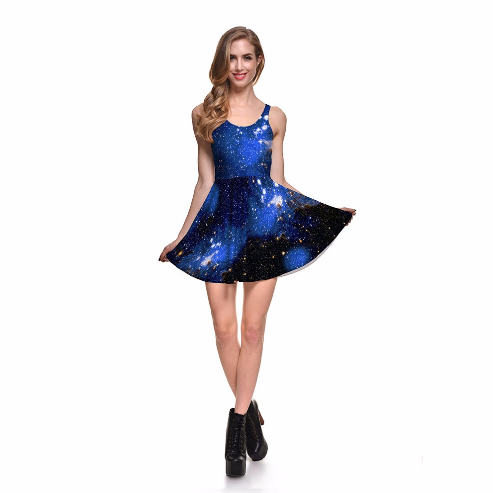 854428228327a US $11.04 8% OFF|NEW 1031 Sexy Girl Women Summer Christmas galaxy Blue  starry sky nebula 3D Prints Reversible Sleeveless Skater Pleated Dress-in  ...