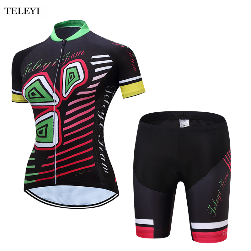 TELEYI Cycling Team Ropa Ciclismo Womens Outdoor Bike Short Sleeve Clothing Bicycle Sports Wear Set/Jersey Bib Shorts