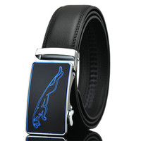LannyQveen New Model Blue Leopard Men S Automatic Buckle Belt Cow Leather Fashion Blue Belts For