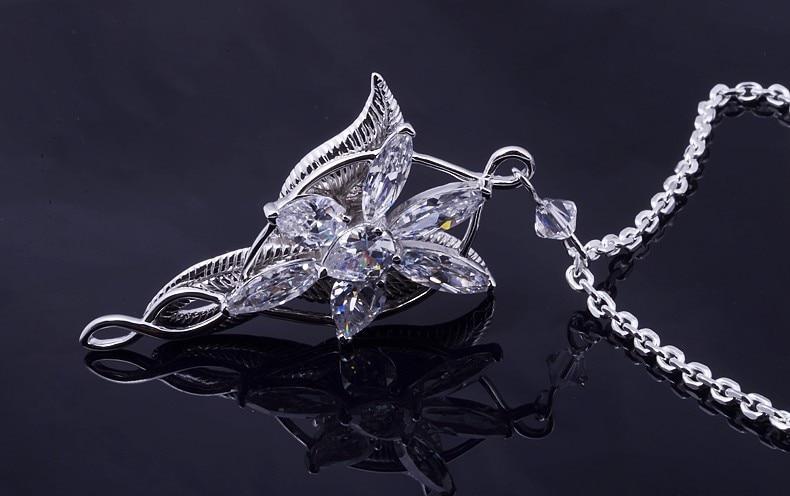 The Lord Arwen Evenstar Necklace White Gold Filled Leaf