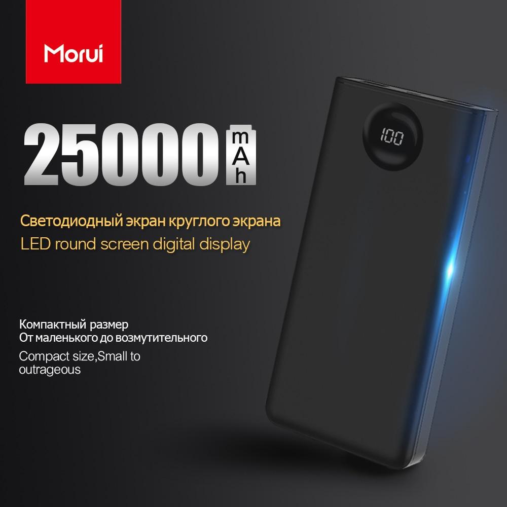 MORUI 25000mAh Power Bank PL25 Large Capacity Mini Mobile Power External Battery With LED Digital Display For Iphone Xiaomi Mi