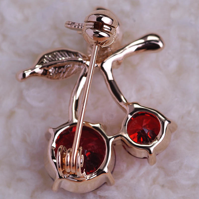 Red Cherry Gold Brooch