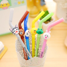 50pcs/lot 0.5mm Black Ink Creative Korean Drink Straw Gel Pen Animal Unisex Promotion Gift Office School Writing Pens