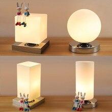 Современные настольные лампы железа в организме и деревянное основание настольные лампы для Спальня гостиная детей чтению простая настольная лампа освещения