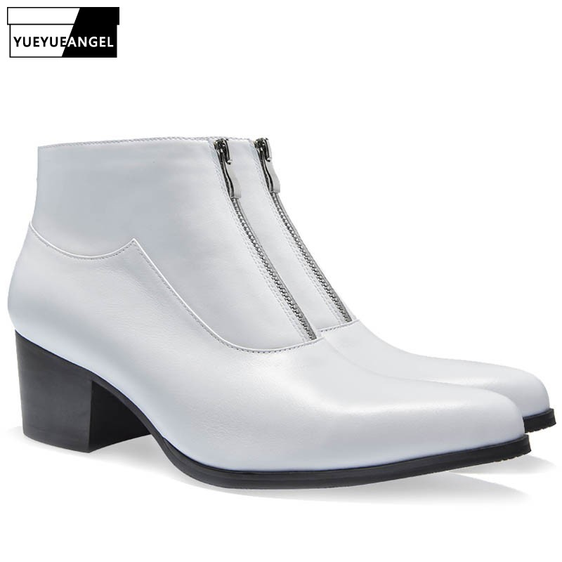 Fashion Men Pointed Toe Office Work Dress Shoes Zipper Med Heels Business Cowhide Real Leather Safety Ankle Boots White Big Size