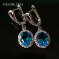 MEGREZEN Beautiful Silver Rhinestone Earrings With Blue Topaz Stone Jewelry Earring Brincos Grandes Fashion Para Mulheres Ye003