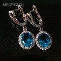 MEGREZEN Hermosa Rhinestone de Plata Pendientes Con Topacio Azul Piedra Pendiente De La Joyería Brincos Moda Párr Mulheres Ye003