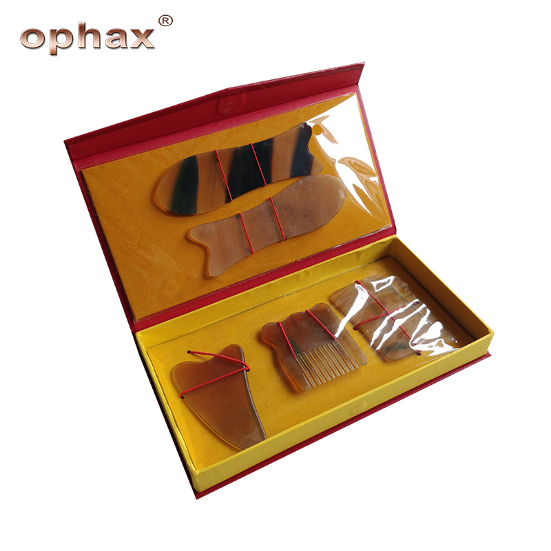 OPHAX 5Pcs/Set Traditional Acupuncture Massage Buffalo Horn Guasha Tool Body Beauty