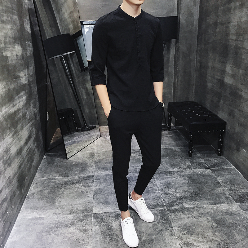 2020 Men Casual Sets Spring Tracksuit Male Tee 3/4 Sleeve Short Pants Casual Sportswear Suits Men Linen Set Patchwork Outwear