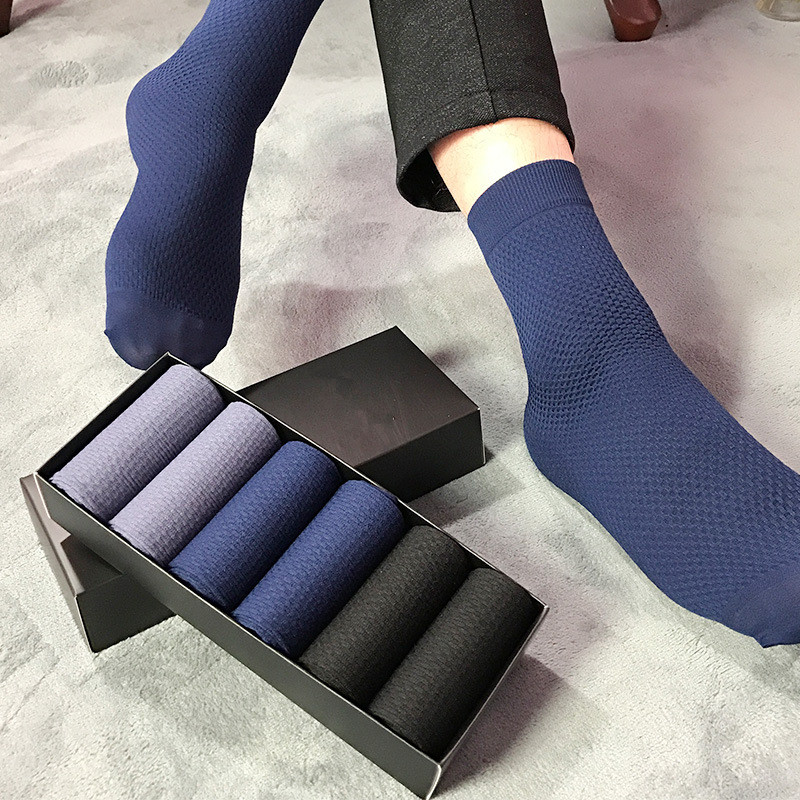 6 Pairs Solid Color Mens Socks Summer Thin Ice Deodorant Business Breathable Socks For Men With Box Gift