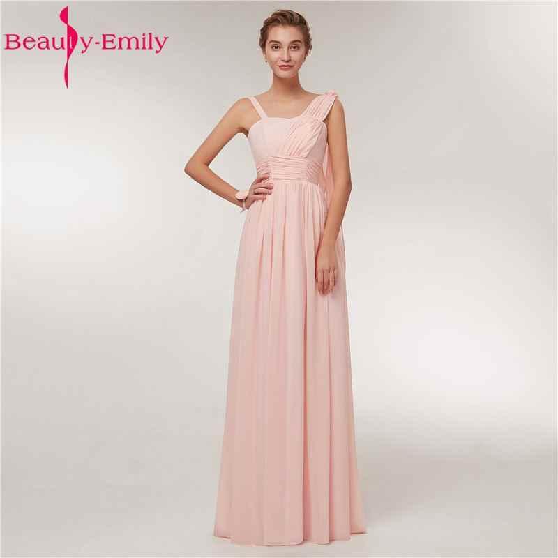9b340a24bfb Beauty Emily Chiffon Long Bridesmaid Dresses 2018 Female A-line Wedding  Party Prom Dresses Formal