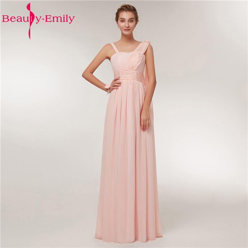 Beauty Emily Chiffon Long   Bridesmaid     Dresses   2018 Female A-line Wedding Party Prom   Dresses   Formal Prom   Dresses