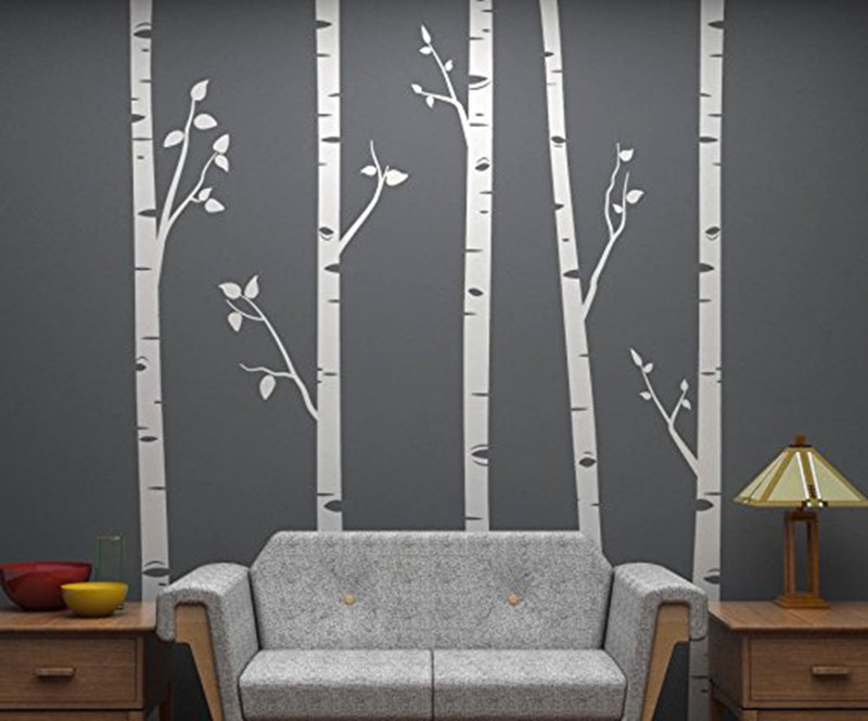 244cm Tall Unique 5 Birch Trees With Branches Huge Size Wall Stickers for Kids Room Nursery Baby Customized Color Wallpaper flame trees of thika