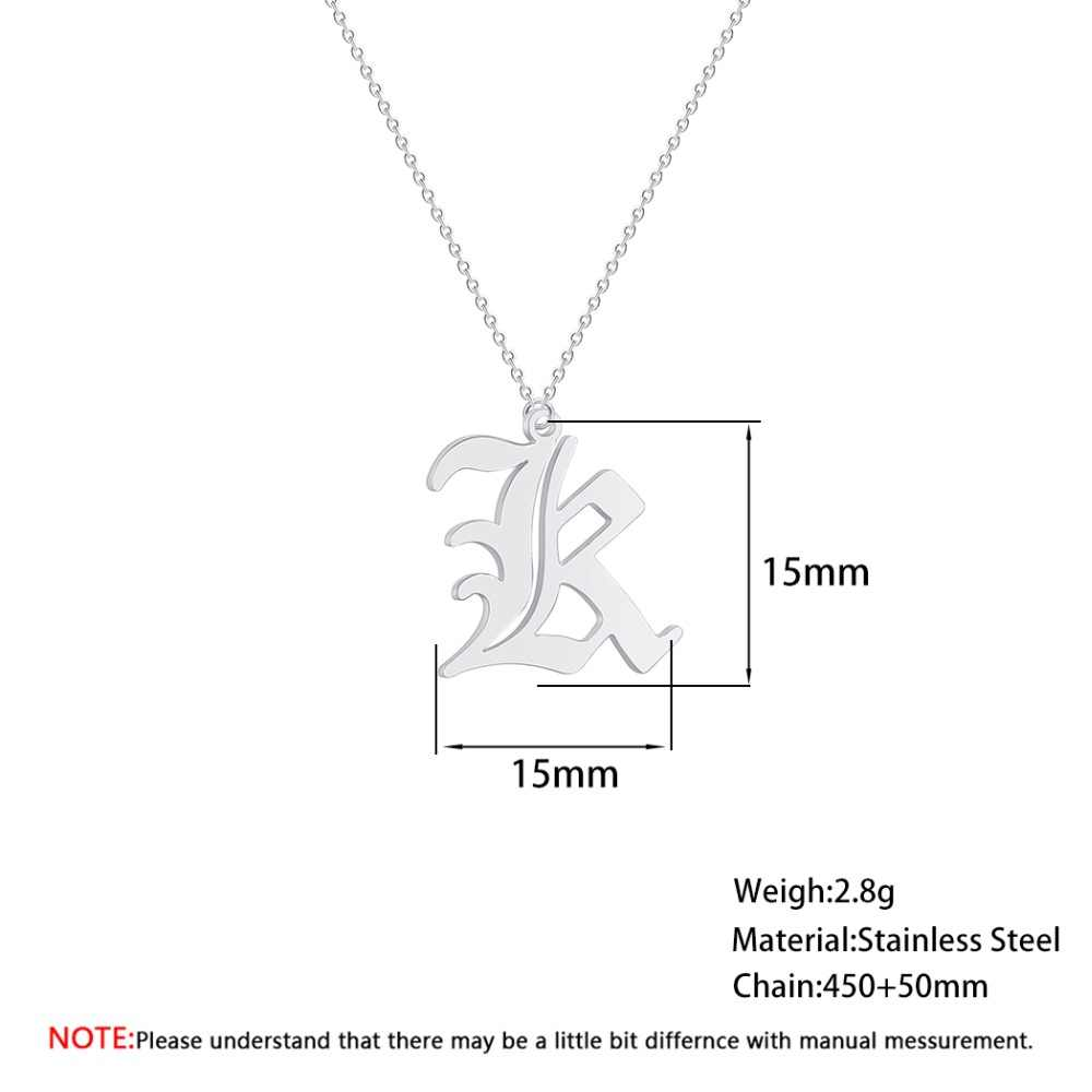 Stainless Steel Necklace Women Men Jewelry Nameplate Initial  K Letter Necklaces Pendants Male Friends Gift